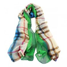 Multicolor Plaid Lady's Colorful Printed Chiffon Scarves