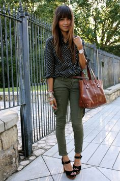 Polka dot shirt and green pants