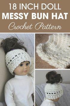 Your little girl will want the 18 Inch Doll Madison Messy Bun Hat for her doll to match hers as well! #crochet #crochetlove #crochetaddict #crochetpattern #crochetinspiration #ilovecrochet #crochetgifts #crochet365 #addictedtocrochet #yarnaddict #yarnlove #crochethat #dollhat