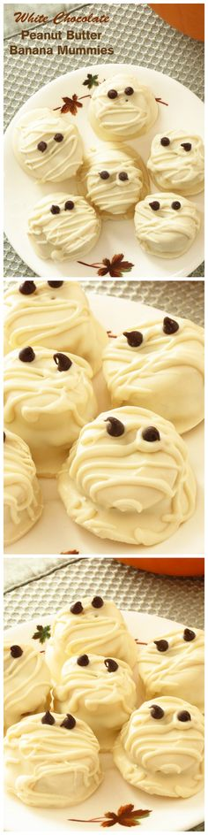 Perfect little Halloween treats!! You'll want to try these White Chocolate Peanut Butter Banana Mummies this Halloween!!