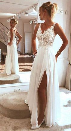 V Neck Split Side Long Wedding Dresses Bridal Gowns with Appliques - - V Neck Split Side Long Wedding Dresses Bridal Gowns with Appliques Mrs.oneal V Neck Split Side Long Wedding Dresses Bridal Gowns with Appliques – NYDress Long Wedding Dresses, Wedding Dress Styles, Bridal Dresses, Wedding Gowns, Wedding Rings, Empire Wedding Dresses, Modest Wedding, Outdoor Wedding Dress, Bridesmaid Dresses