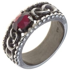 Damen Ring 925 Sterling Silber vintage rhodiniert 1 Granat Silberring A51595 54