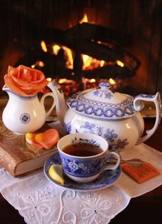 Nothing better to wind down at the end of a long day than a lovely cup of tea by the fireplace.