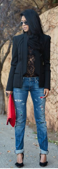 Winter.♥ boyfriend jeans + black blazer + black stilettos + black blazer + red clutch