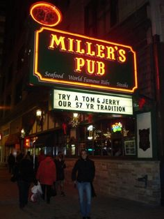 Miller's Pub for ribs, late-night dining in the Loop, celebrity photos, and Tom & Jerrys at the holidays, by Sean Parnell, Chicago Bar Project (Chicago Pin of the Day, 11/27/2014).