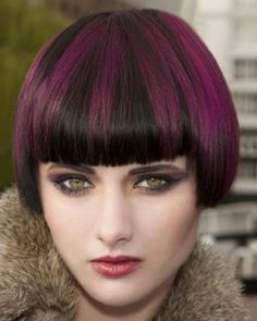 bob, short hairstyle with violet highlights on black hair, straight bangs