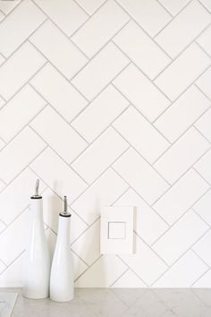 DIY White Herringbone Backsplash Installation | Herringbone Backsplash, Herringbone and Kitchen Reno