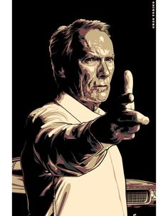 Gran Torino w/ Clint Eastwood Movie Poster Art, New Poster, Film Posters, Caricature, Films Cinema, Movies And Series, Kino Film, Wallpaper Gallery, Hd Wallpaper