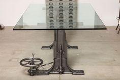 Vintage Industrial Furniture, Dining Table/Desk Base, Adjustable and Original. | Tables (all)|Adjustable|Dining|Desks|Tim Byrne Designs | Get Back Inc.