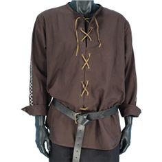 A good medieval or renaissance shirt is a great place to start building any costume. Here at Medieval Collectables, we offer a diverse variety of medieval and renaissance shirts for men and women that not only look good but are offered at a great price. Renaissance Shirt, Renaissance Costume, Medieval Costume, Medieval Dress, Medieval Clothing Men, Medieval Fashion, Mens Tunic, Costume Design, Larp