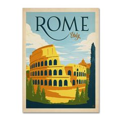 This ready to hang, gallery-wrapped art piece features an illustration of Rome, Italy. Anderson Design Group, Inc. founder Joel Anderson graduated from Ringling School of Art and Design in 1986. He wa