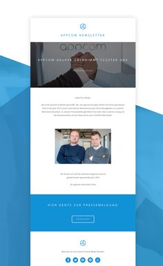 newsletter design | press release | e-mail design | blue and white | appcome newsletter | appcome interactive | duesseldorf