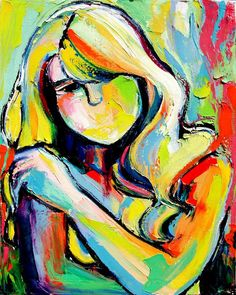 Original abstract oil painting female nude by Aja. $185.00, via Etsy.