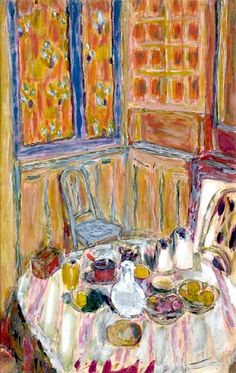 """Corner of the Dining Room"":  Pierre Bonnard. When you see a Bonnard the paint is very thinned down and they look like soft washes of color and their are so many beautiful colors in his works up close photographs really don't do his work the justice they deserve to appreciate him you have to see his works. The Phillips in Washington D C has some excellent examples of his works."