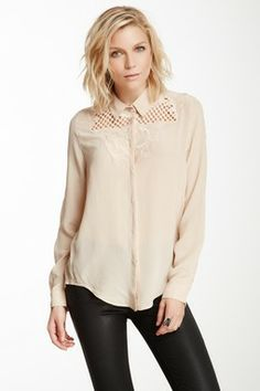 Aryn K Lace & Embroidered Silk Shirt
