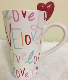 "... Letters ""Love"" Mug Red Heart on Rim Target Tall Latte Cup #Target"