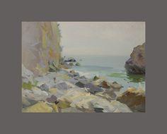 Seascape Sketch  Rocks Sketch  Sea Art  Seascape Art by PysarArt