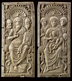 Christ and Mary -  Diptych. Ivory.     Middle of 6 th century. © Foto: Skulpturensammlung und Museum für Byzantinische Kunst der Staatlichen Museen zu Berlin - Preußischer Kulturbesitz