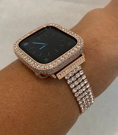 Rose Gold Apple Watch, Apple Watch Bands, Rose Watch, Apple Band, Apple Watch Accessories, Rose Gold Jewelry, Body Jewelry, Lab Diamonds, Gold Bands