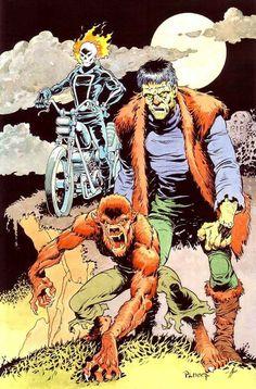 Ghost Rider, Frankenstein Monster and Werewolf By Night by Mike Ploog Hq Marvel, Disney Marvel, Marvel Comics, Marvel Heroes, Comic Book Artists, Comic Artist, Comic Books Art, Horror Monsters, Classic Monsters