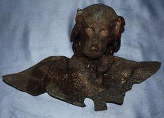 Jagdhund altes original Tintenfass hund bronze bronzefigur setter spaniel ente