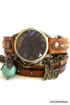 Chain Wrap Watch Leather Wrist Watch Womens by CuckooNestArtStudio, $49.00