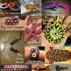 Paracord crafts from Aaron Surgi, Benedict Beharry, Chelsi Parr, Cory Borer, Craig Leaser, Guy McDonald, Holli Hardesty, Jose Cisneros, Joseph Easter, Seth Nareff, Sheri Sanner, and Tim Deglopper for their submissions to Monday Medley
