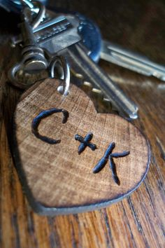 Personalized small wood heart keychain, gift for him or her for anniversary. $17.00, via Etsy.