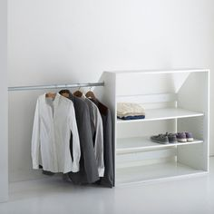 Would like this for attic closet with a shelf above hanging clothing for more place to put bins for more storage Image Module dressing spécial sous-pente, Résima La Redoute Interieurs Attic Bedroom Closets, Attic Bedroom Storage, Attic Closet, Walk In Closet, Closet Storage, Wall Storage, Slanted Ceiling Closet, Upstairs Loft, Loft Room