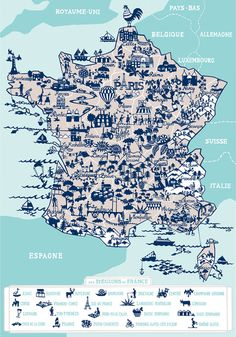 Beautifully illustrated map of France by Famille Summerbelle Plan France, France Map, Map Wall Art, Map Art, Plan Ville, Belle France, Map Globe, French History, Travel Illustration