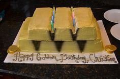 Golden Birthday Cake made to look like gold bricks