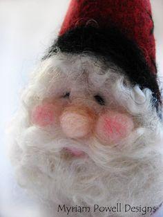 *NEEDLE FELTED ART - Santa Ornament