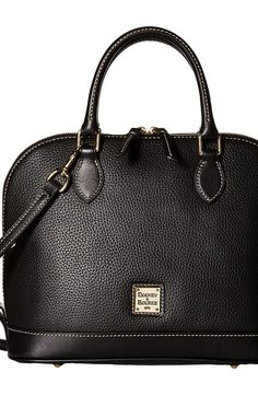 Dooney & Bourke Pebble Leather New Colors Zip Zip Satchel (Black/Black) Satchel Handbags - Dooney & Bourke, Pebble Leather New Colors Zip Zip Satchel, R343-985, Bags and Luggage Handbag Satchel, Satchel, Handbag, Bags and Luggage, Gift - Outfit Ideas And Street Style 2017