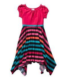 Loving this Fuchsia & Teal Stripe Handkerchief Dress - Girls on #zulily! #zulilyfinds