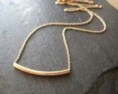Gold Bar and Sterling Silver Necklace, Mixed Metal. $28.00, via Etsy.
