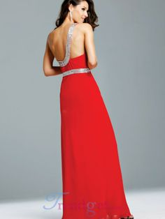 Classy A-line Floor-length One Shoulder Sleeveless Backless Empire Beading Chiffon Red Prom Dresses