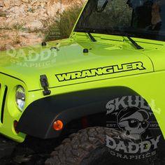 Jeep WRANGLER Hood Factory Outline Stickers Vinyl Decals JK TJ YJ CJ PAIR