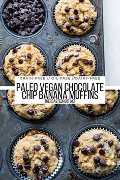 Chocolate Chip Paleo Vegan Banana Muffins - oil-free, dairy-free, grain-free, gluten-free healthy banana muffins recipe #breakfast #glutenfree #grainfree #oilfree #vegan #paleo #pegan