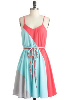 Worth a Tricolor Dress in Aquamarine, #ModCloth  much cuter than the red navy and white one
