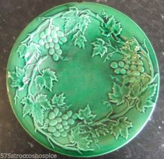 Victorian Antique Green Majolica Plate Dish Vine Leaves Grapes Tin Glaze | eBay