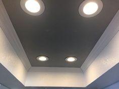 Perfect LED upgrade for you fluorescent lighting removal. Perfect LED upgrade for you fluorescent lighting removal. Nice 5 inch crown molding will upgrade yo Led Recessed Lighting, Kitchen Lighting Fixtures, Strip Lighting, Bathroom Lighting, Lighting Ideas, House Lighting, Ceiling Crown Molding, Mold In Bathroom, Bathrooms