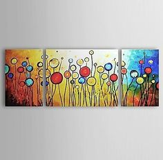 100 Handpainted Bestselling Quality Goods Free Shipping Wood Framed on the Back Summer All Over the Sky Red Flowers High Q Wall Decor Landscape Oil Painting on Canvas 3pcsset Mixorde ** You can find more details by visiting the image link.(This is an Amazon affiliate link)
