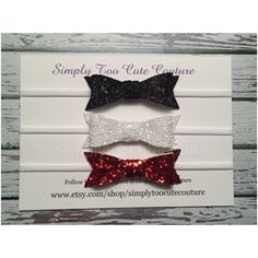 Black White Red Chunky Glitter Bows by SimplyTooCuteCouture