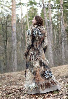 """Купить Арт-пальто №5 """"Шепот леса"""" - пальто, пальто валяное, пальто из шерсти"""