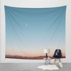 Desert Sky with Harvest Moon Wall Tapestry by Los Adventures | Society6