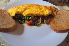 Asparagus, Mushroom and San Marzano Tomato Omelet with Acme Bake Shop Toasted Rye. - The Captain's Shack