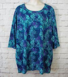 Womens Plus LIZ & ME Floral Paisley Print Scoop Neck ¾ Sleeve Top SZ 5X…