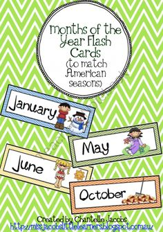 Months of the Year Flashcards with American Seasons product from Ms-Jacobs-Little-Learners on TeachersNotebook.com