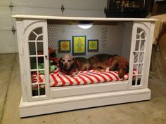 Upcycled TV Console To Dog Bed by Miss-Tints - Featured On Furniture Flippin - http://goo.gl/XUPVGN