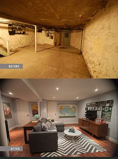 unfinished basement before and after.  basement renovation Before and After Man Room Brooklyn Limestone by MrsLimestone Sidd Nisha s Basement Pictures Basements House